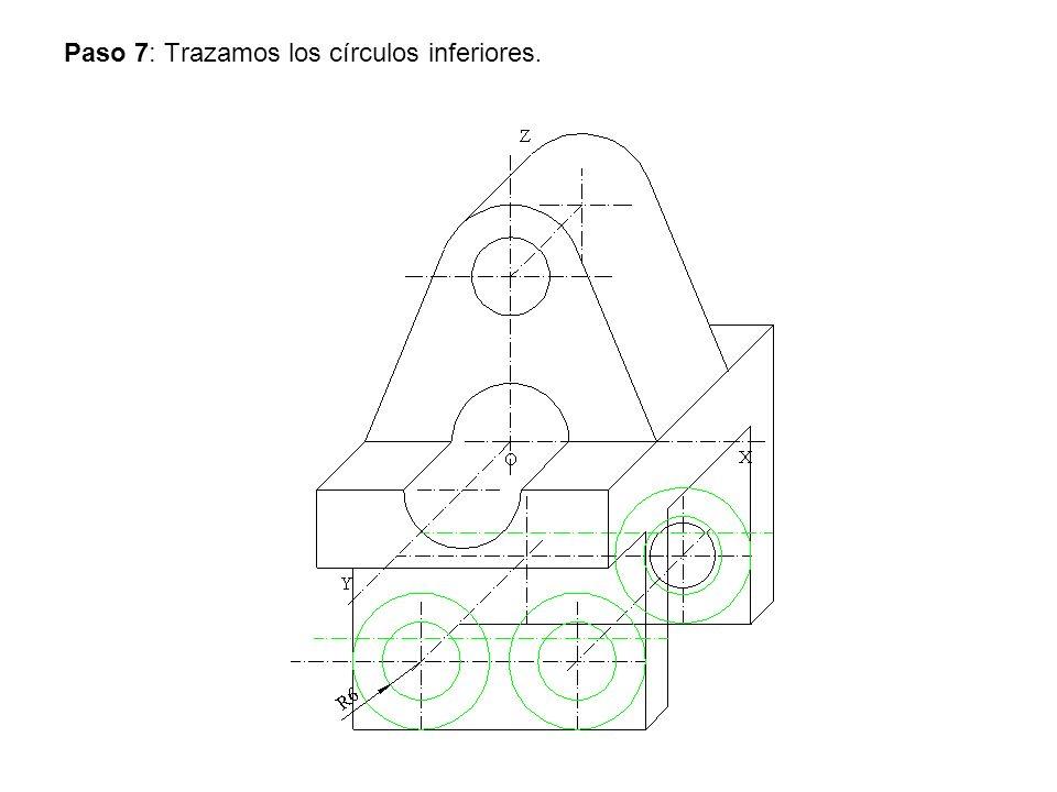Paso 8: Trazamos los círculos posteriores y la tangente inferior.
