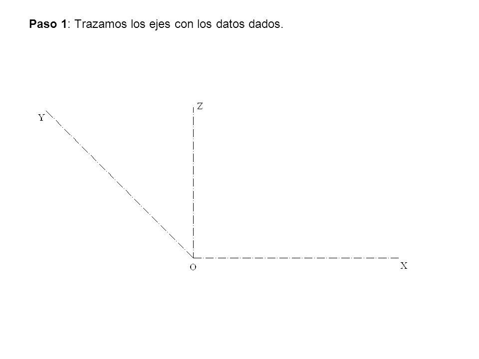 Paso 2: Prolongamos los ejes X y Z y trazamos las circunferencias con centro en O.