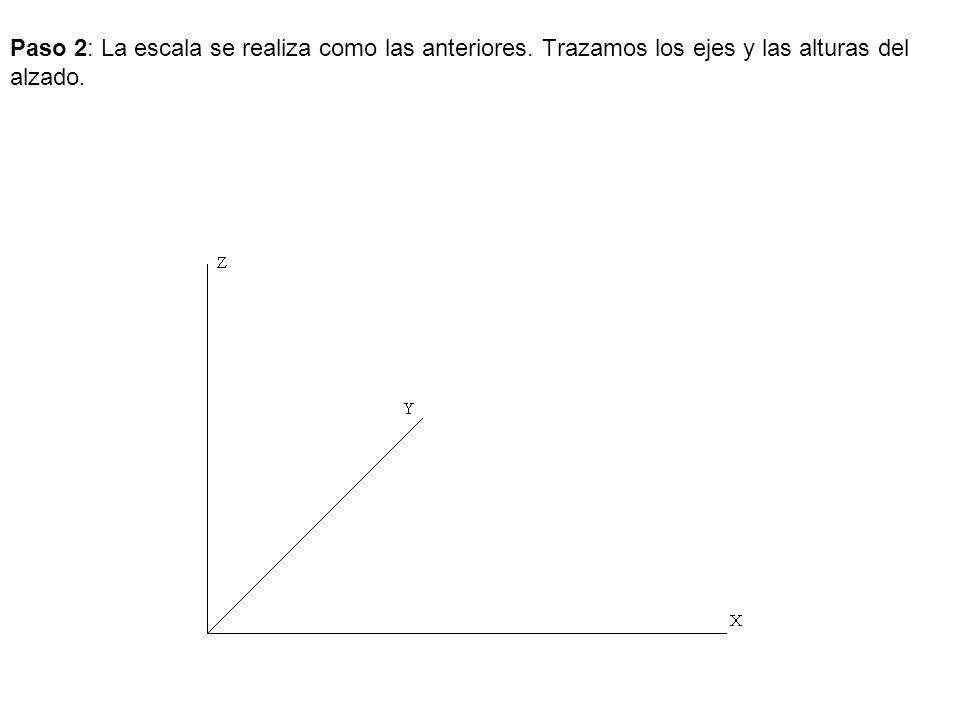 Paso 3: Trazamos las medida de largo, ancho y los dos ejes.