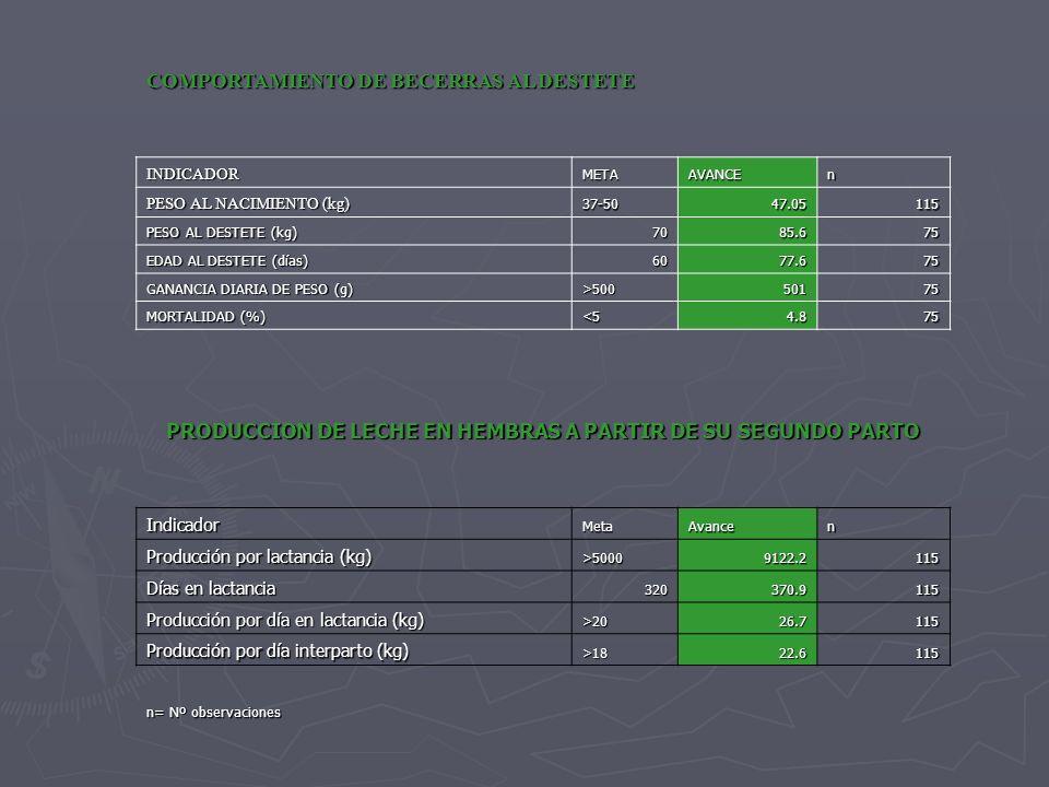 VARIABLEMETA PROMEDIO GGAVATT DIFERENCIA TASA DE FERTILIDAD 75%58.80%26.20% TASA DE PARICION 95%85.80%9.20% TASA DE DESTETE 95%95.20%-0.20% PERIODO INTER PARTO (meses) 1414.1-0.1 EDAD AL 1er PARTO (meses) 2727.1-0.1 PESO AL EMPADRE (kg) 360373.6-13.6 PESO AL NACIMIENTO (kg) 4047.05-7.05 PESO AL DESTETE (kg) 7885.6-7.6 DIAS AL DESTETE 6577.6-12.6 GANANCIA DIARIA DE PESO (g) 75073812 % DE ABORTOS 314.18 -11.18 % DE PARTOS DISTOSICOS 814.3 -6.3 % MORTALIDAD CRÍAS 54.8 0.2 % MORTALIDAD ADULTAS 11.1 -0.1 % DE DESECHOS 258.5 16.5 % DE REEMPLAZOS 2014.6 5.4 CUADRO COMPARATIVO