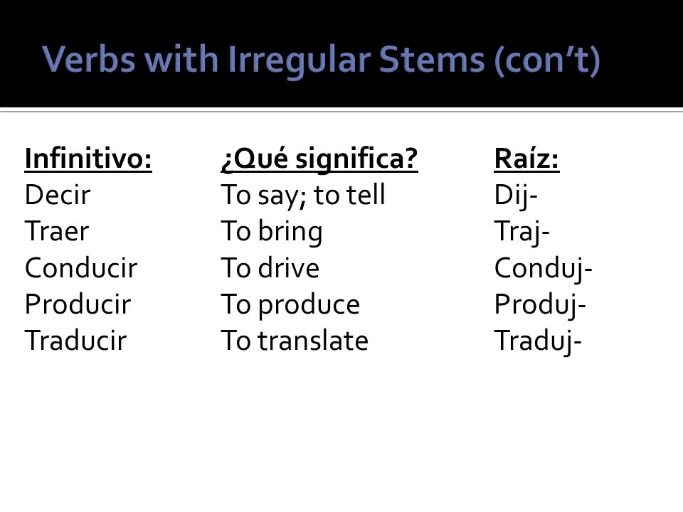 All of these verbs do not take the normal –ar, -er, or –ir endings.