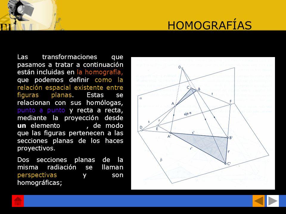 HOMOGRAFÍAS Las transformaciones que pasamos a tratar a continuación están incluidas en la homografía, que podemos definir como la relación espacial existente entre figuras planas.