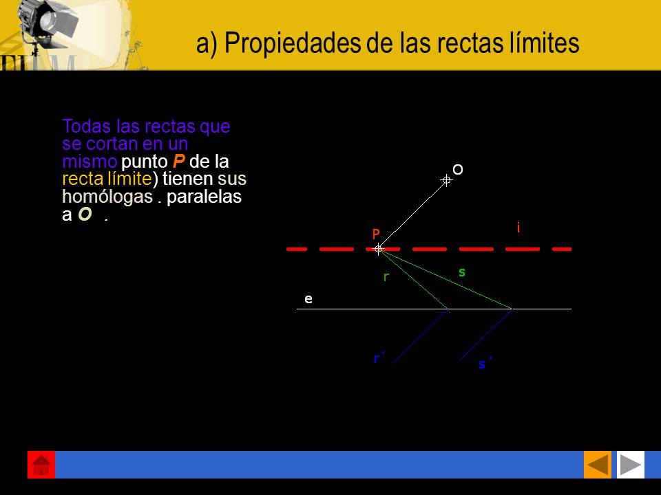 a) Propiedades de las rectas límites Todas las rectas que se cortan en un mismo punto P de la recta límite) tienen sus homólogas.