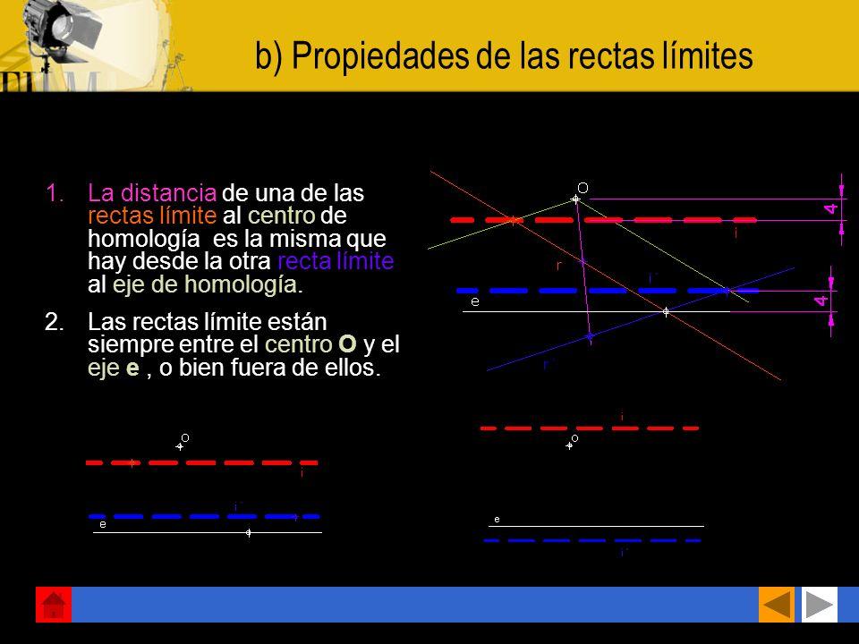 b) Propiedades de las rectas límites 1.La distancia de una de las rectas límite al centro de homología es la misma que hay desde la otra recta límite al eje de homología.