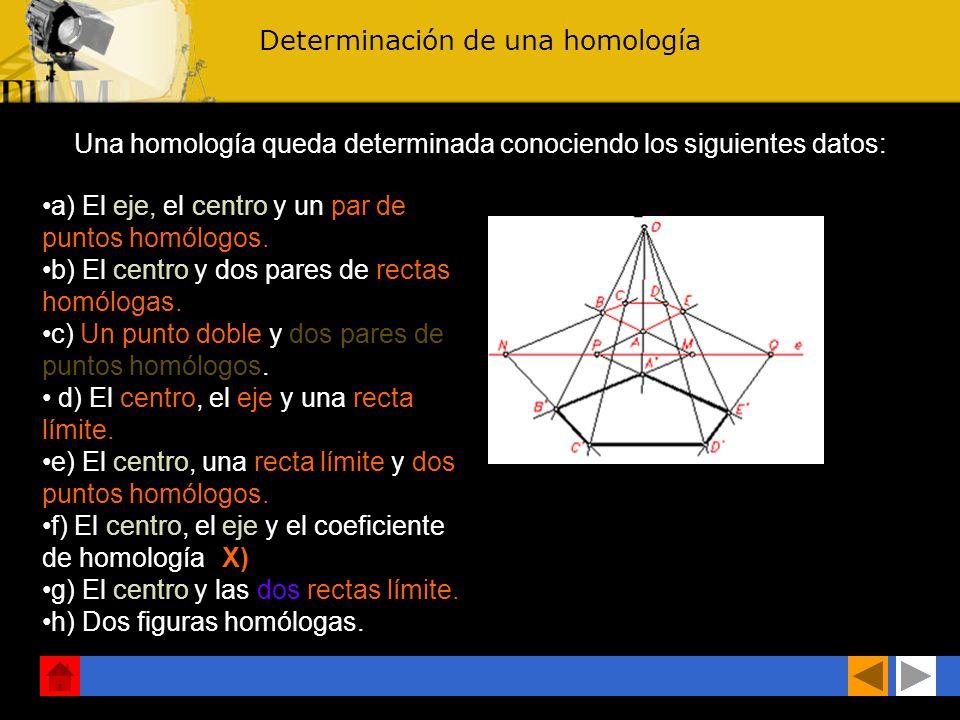 Determinación de una homología Una homología queda determinada conociendo los siguientes datos: a) El eje, el centro y un par de puntos homólogos.