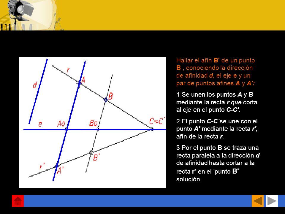 Hallar el afín B de un punto B, conociendo la dirección de afinidad d, el eje e y un par de puntos afines A y A : 1 Se unen los puntos A y B mediante la recta r que corta al eje en el punto C-C .
