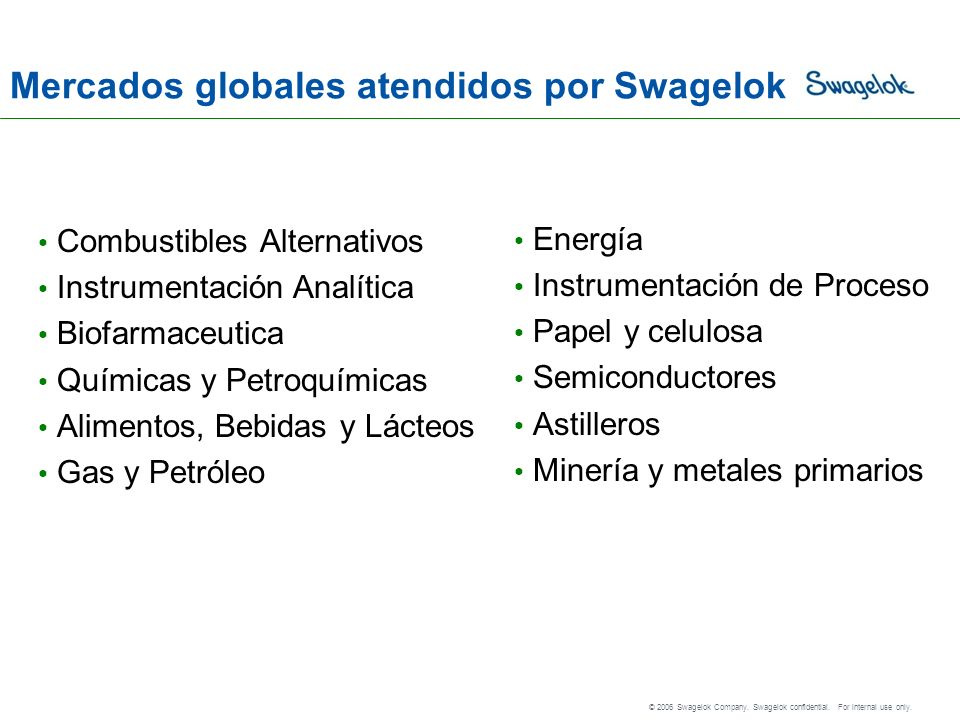 © 2006 Swagelok Company.Swagelok confidential. For internal use only.