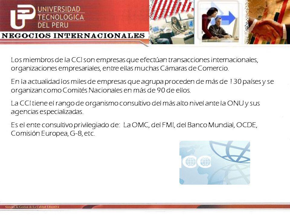 La CCI posee instrumentos que faciliten el comercio y las inversiones internacionales: la Corte Internacional de Arbitraje, la recopilación y actualización de usos comerciales internacionales (Incoterms, Reglas y Usos uniformes relativos a los créditos documentarios, etc).