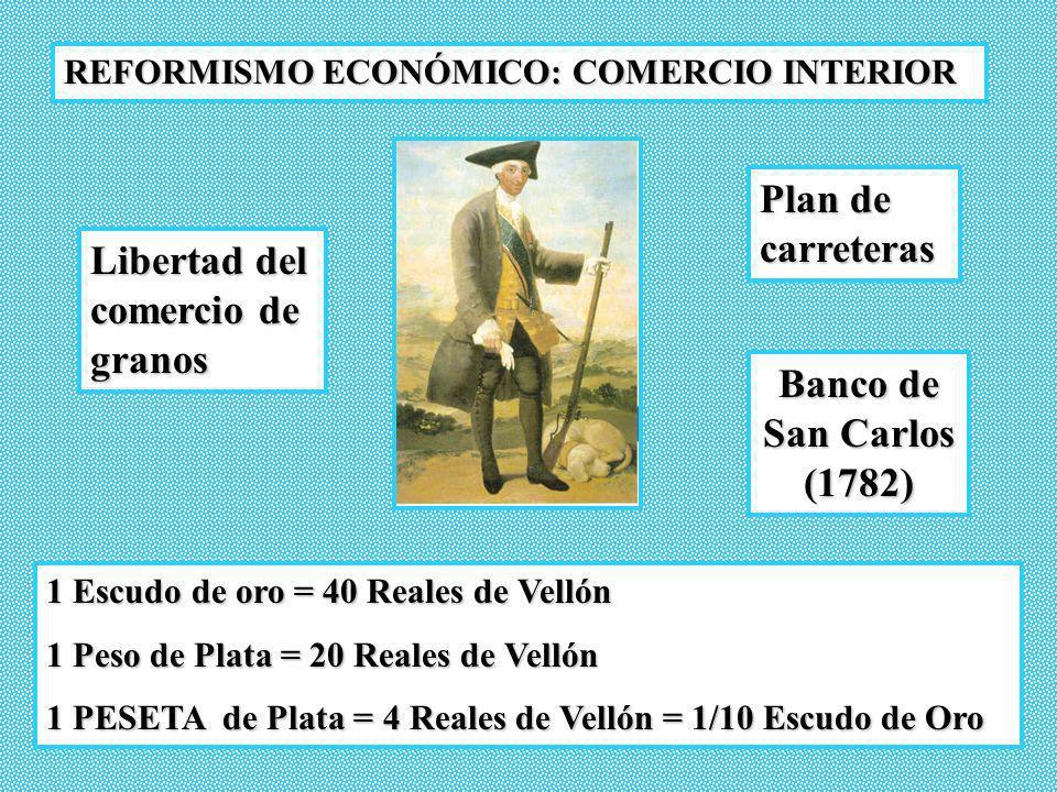 REFORMISMO ECONÓMICO: COMERCIO EXTERIOR Balanza comercial deficitaria MERCANTILISMO: Compañías mercantiles privilegiadas (monopolios) 1728.