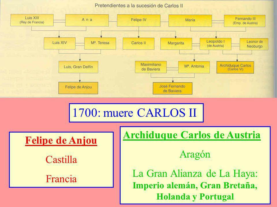 1707: Batalla de Almansa:Ocupación de Aragón y Valencia 1710:Batalla de Villaviciosa: se instala en el Trono 1711: Muere el emperador JOSÉ I de Austria 1713: Paz de UTRECHT AUSTRIA : Nápoles, Cerdeña, Toscana, Bélgica y el Milanesado SABOYA : Sicilia GRAN BRETAÑA : Gibraltar, Menorca, el Asiento de Negros (33 años) y el Navío de Permiso (500 t.)