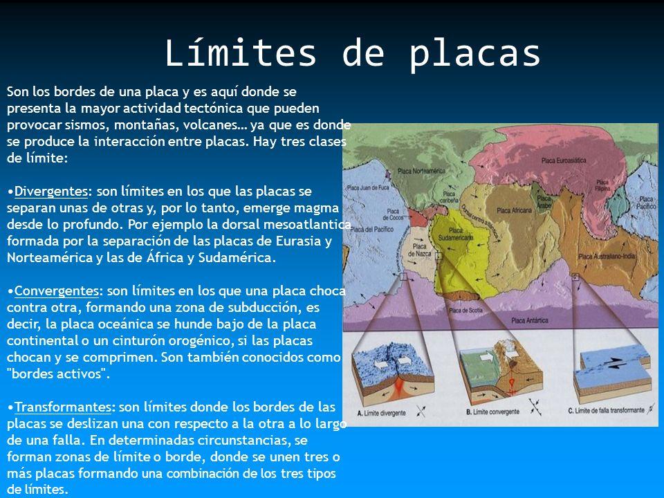 Los tipos de placas que existen son: Placas Oceánicas: Son placas cubiertas íntegramente por corteza oceánica delgada y de composición básica.