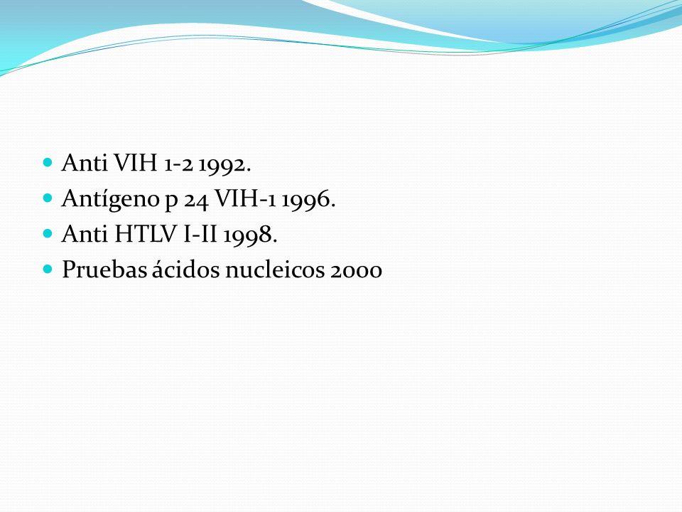 ETTSPeriodo ventana VIH 1 generación70 días 2 generación50 días 3 generación21 días Antígeno p 2416 días Ácidos nucleicos11 días