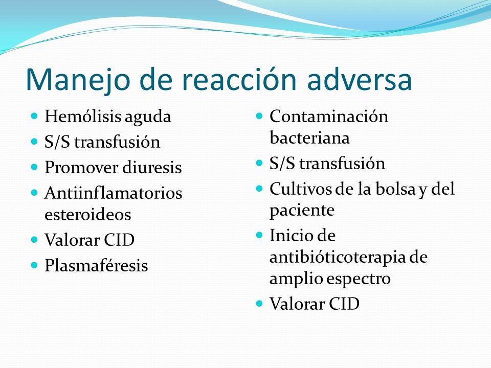 Anafilaxia S/S transfusión Adrenalina Injuria pulmonar S/S transfusión Ventilación mecánica asistida