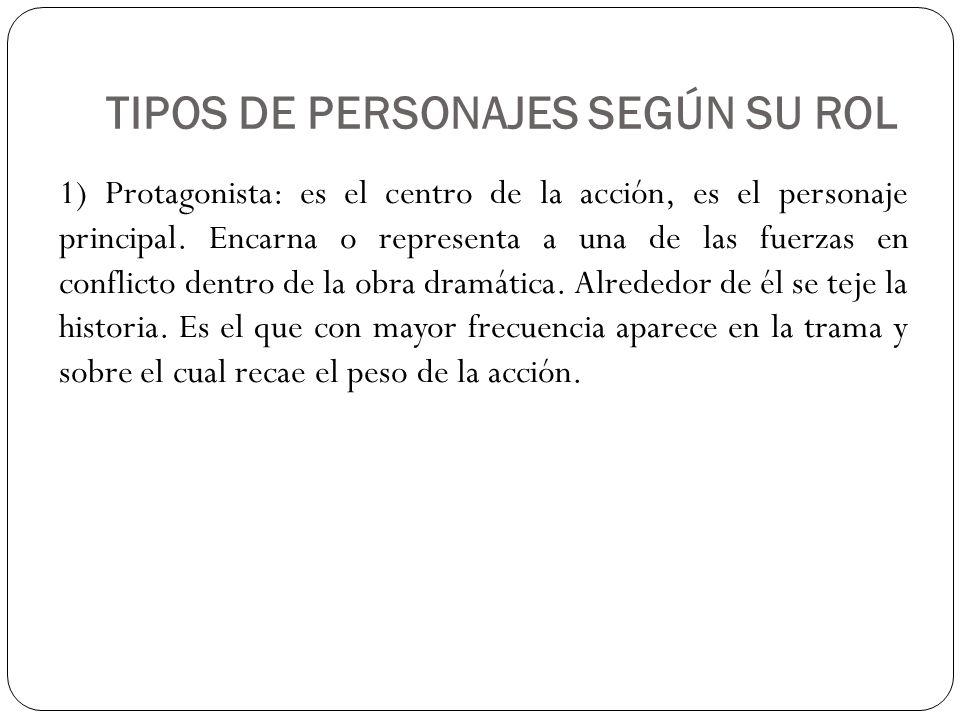 TIPOS DE PERSONAJES SEGÚN SU ROL B) Antagonista: es considerado también un personaje relevante dentro de la obra dramática.