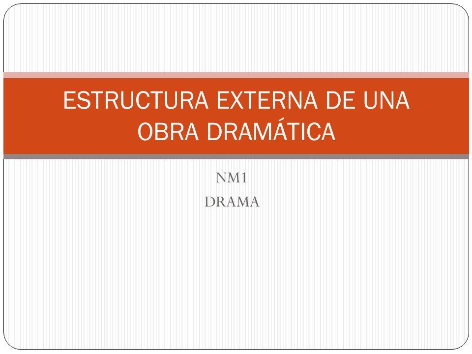 ESTRUCTURA EXTERNA Los elementos internos (acción y conflicto), se articulan u organizan formalmente a través de unidades claramente diferenciadas que constituyen la estructura externa de la obra dramática.