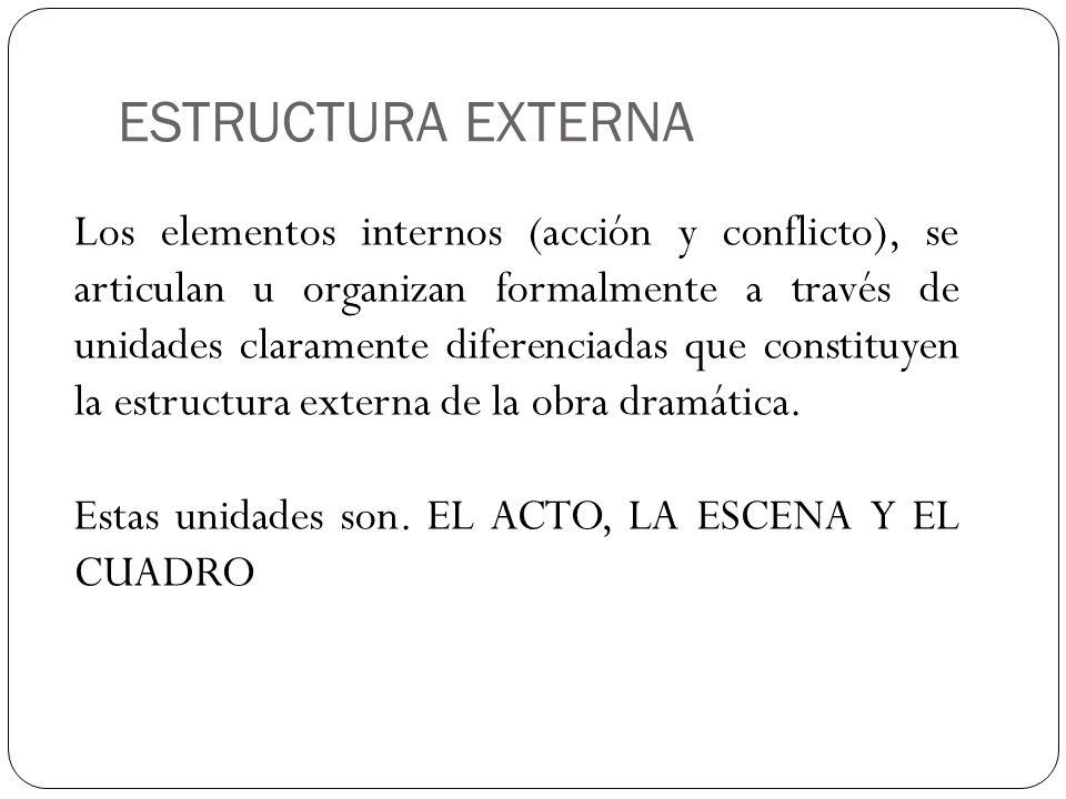ACTO Se define como cada una de las unidades mayores en que se divide la forma externa de un drama.