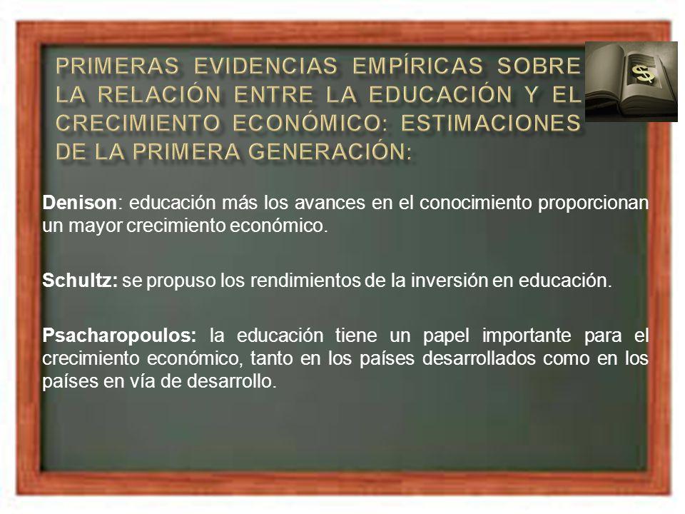 Del estudio de Psacharopolous se desprenden una serie de conclusiones interesantes: La educación incide positivamente en el crecimiento económico.