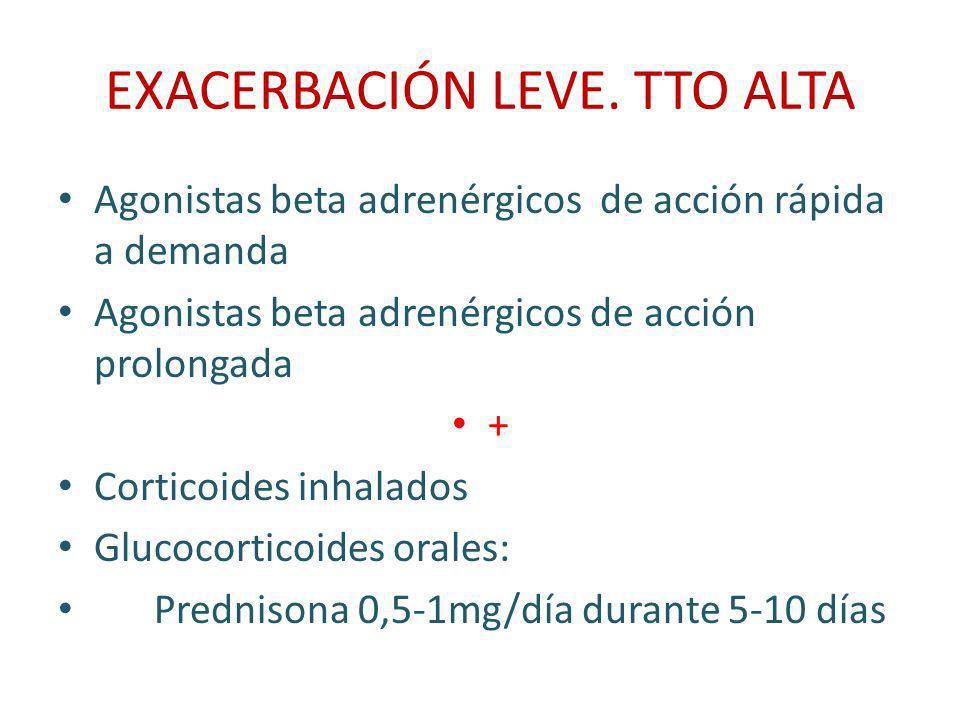 EXACERBACIÓN MODERADA PEF 50-70% SatO2 92-95% Signos de fracaso ventilatorio Oxígeno para mantener Sat O2 >90% Agonista beta 2 adrenérgico de acción corta: Inhalados 12inh(4 inh/10 mi) Nebulizados 2,5-5mg/20 mi