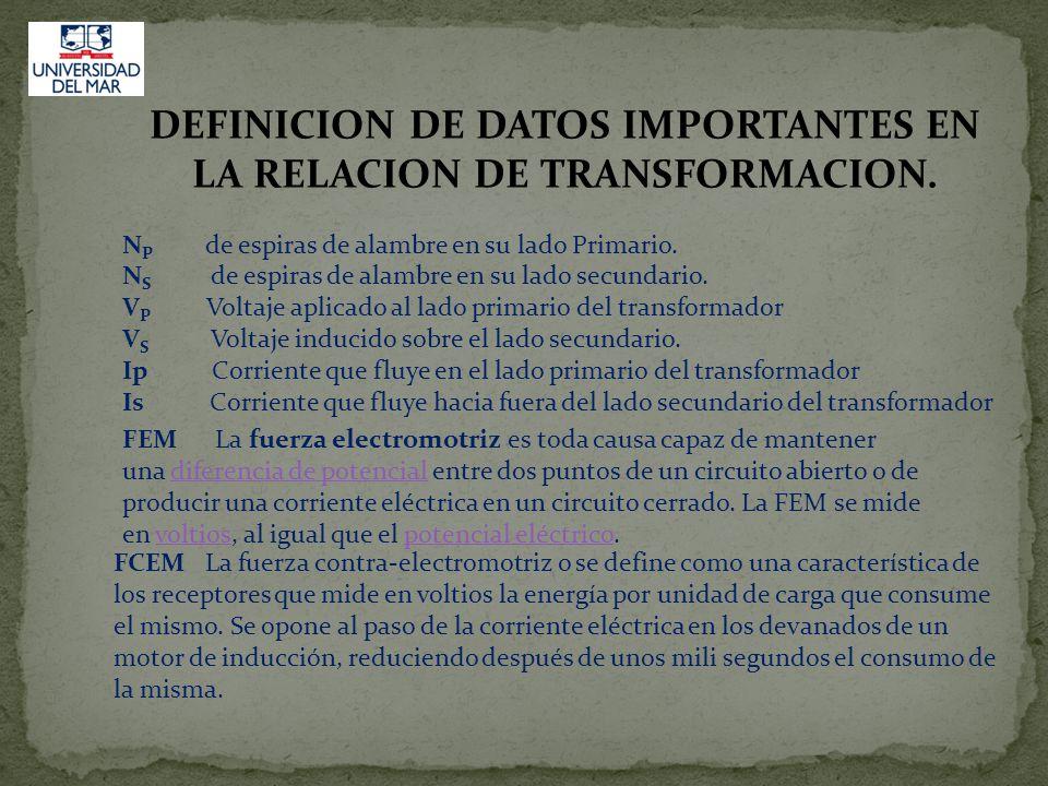 DEFINICION DE DATOS IMPORTANTES EN LA RELACION DE TRANSFORMACION.