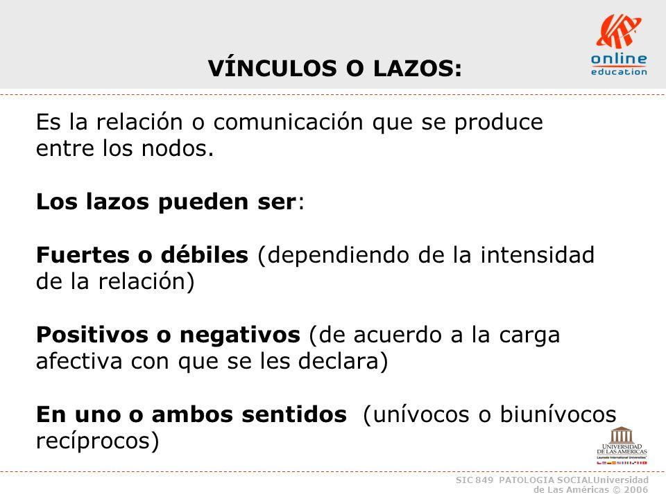 SIC 849 PATOLOGIA SOCIALUniversidad de Las Américas © 2006 VÍNCULOS O LAZOS: Los lazos se establecen para producir seguridad.