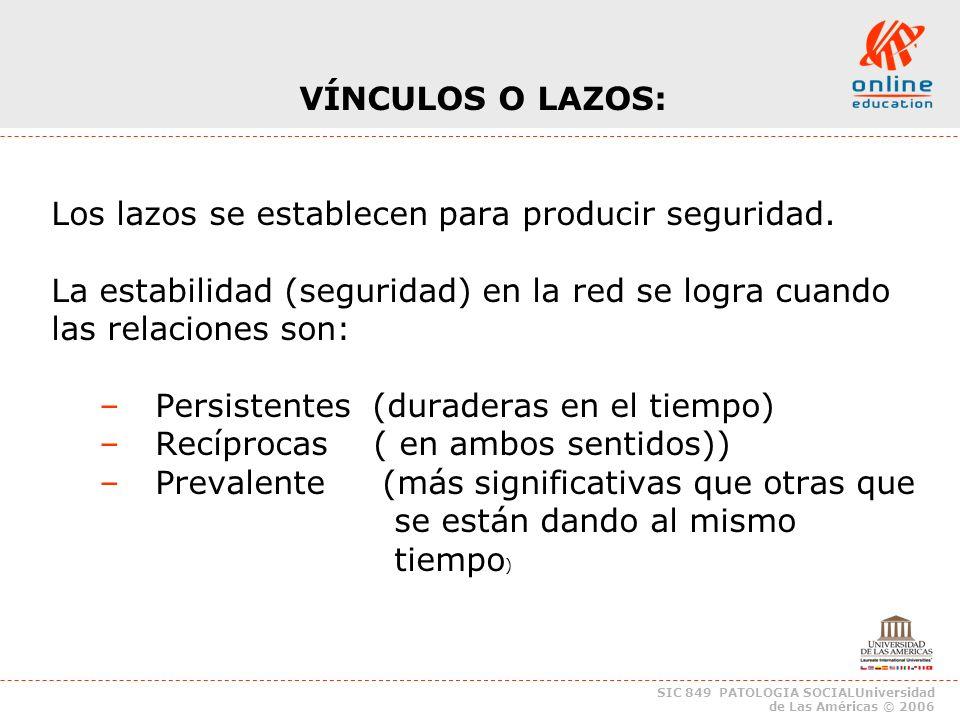 SIC 849 PATOLOGIA SOCIALUniversidad de Las Américas © 2006 Distancia: Dependencia y autonomía en la Red.