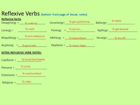 Reflexive Verbs (bottom front page of Vocab. notes) Reflexive Verbs Despertarse = _________________ Levantarse=___________________ Bañarse=__________________.