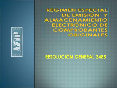 RESOLUCIÓN GENERAL 2485 1. Introducción Implementación Perspectivas.