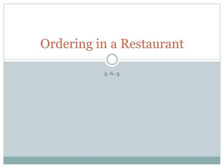 3.6.3 Ordering in a Restaurant. The waitperson might say: You might say: ¿Ya sabe(n) qué va(n) a pedir? Recomiendo la especialidad de la casa. ¿Qué le(s)