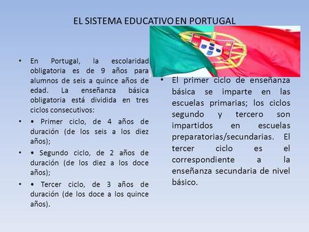 EL SISTEMA EDUCATIVO EN PORTUGAL