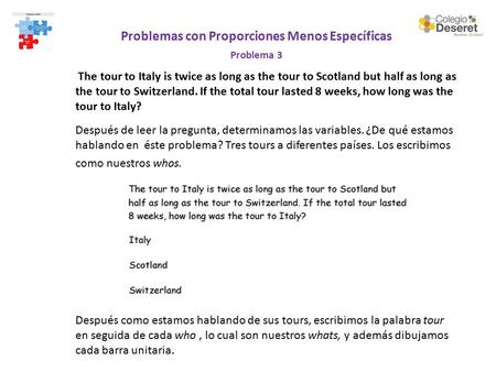 Problemas con Proporciones Menos Específicas Problema 3 The tour to Italy is twice as long as the tour to Scotland but half as long as the tour to Switzerland.