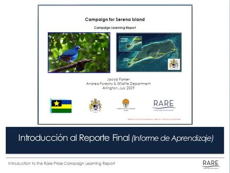 Introduction to the Rare Pride Campaign Learning Report Introducción al Reporte Final (Informe de Aprendizaje)