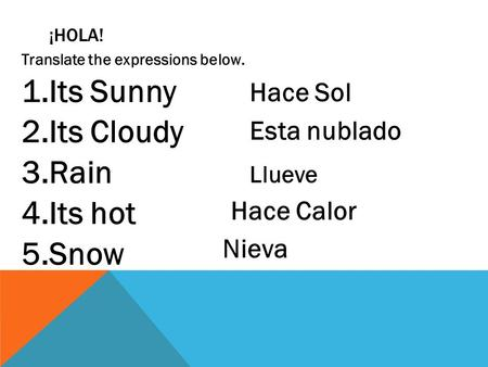 ¡HOLA! Translate the expressions below. 1.Its Sunny 2.Its Cloudy 3.Rain 4.Its hot 5.Snow Hace Sol Esta nublado Llueve Hace Calor Nieva.
