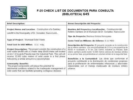 F-25 CHECK LIST DE DOCUMENTOS PARA CONSULTA (BIBLIOTECA) 645 Brief Description:Breve Descripción del Proyecto: Project Name and Location : Construction.