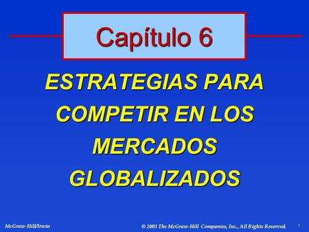 1 McGraw-Hill/Irwin © 2003 The McGraw-Hill Companies, Inc., All Rights Reserved. ESTRATEGIAS PARA COMPETIR EN LOS MERCADOS GLOBALIZADOS Capítulo 6.