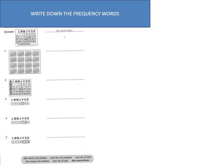 WRITE DOWN THE FREQUENCY WORDS. LEER- Read the text and answer true or false VERDAD (V) OR FALSO (X)