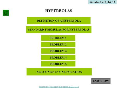 1 DEFINITION OF A HYPERBOLA HYPERBOLAS PROBLEM 4 PROBLEM 1 Standard 4, 9, 16, 17 PROBLEM 3 PROBLEM 2 STANDARD FORMULAS FOR HYPERBOLAS PROBLEM 5 END SHOW.