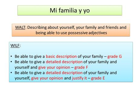 Mi familia y yo WALT: Describing about yourself, your family and friends and being able to use possessive adjectives WALT: Describing about yourself, your.