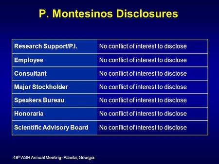P. Montesinos Disclosures 49 th ASH Annual Meeting–Atlanta, Georgia Research Support/P.I.No conflict of interest to disclose EmployeeNo conflict of interest.