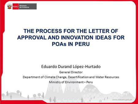 THE PROCESS FOR THE LETTER OF APPROVAL AND INNOVATION IDEAS FOR POAs IN PERU Eduardo Durand López-Hurtado General Director Department of Climate Change,