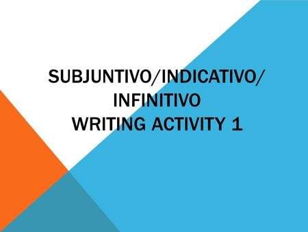 SUBJUNTIVO/INDICATIVO/ INFINITIVO WRITING ACTIVITY 1.