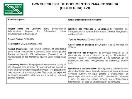 F-25 CHECK LIST DE DOCUMENTOS PARA CONSULTA (BIBLIOTECA) 728 Brief Description: Breve Descripción del Proyecto: Project Name and Location: Basic Environmental.