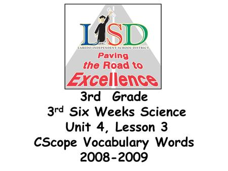 3rd Grade 3 rd Six Weeks Science Unit 4, Lesson 3 CScope Vocabulary Words 2008-2009.