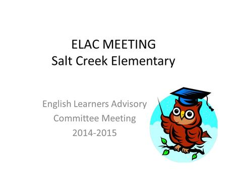 ELAC MEETING Salt Creek Elementary English Learners Advisory Committee Meeting 2014-2015.
