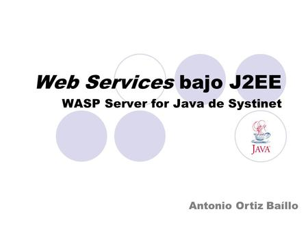 Web Services bajo J2EE WASP Server for Java de Systinet