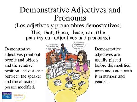 This, that, these, those, etc. (the pointing-out adjectives and pronouns.) Demonstrative Adjectives and Pronouns (Los adjetivos y pronombres demostrativos)
