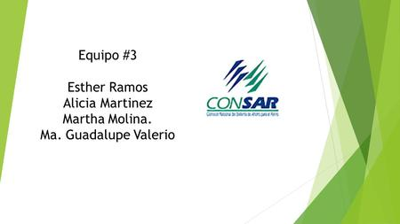Equipo #3 Esther Ramos Alicia Martinez Martha Molina. Ma