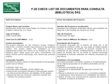 F-25 CHECK LIST DE DOCUMENTOS PARA CONSULTA (BIBLIOTECA) 541 Brief Description:Breve Descripción del Proyecto: Project Name and Location : Replacement.