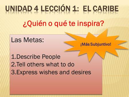 ¿Quién o qué te inspira? Las Metas: 1.Describe People 2.Tell others what to do 3.Express wishes and desires Las Metas: 1.Describe People 2.Tell others.