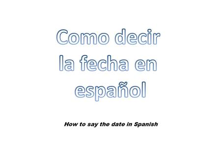 How to say the date in Spanish
