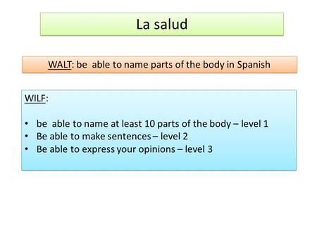 La salud WALT: be able to name parts of the body in Spanish WILF: be able to name at least 10 parts of the body – level 1 Be able to make sentences – level.